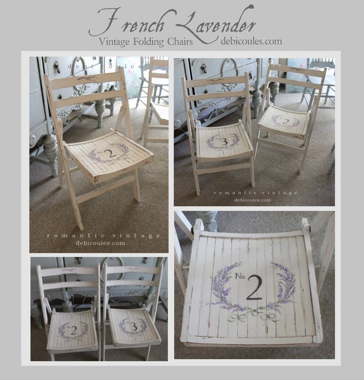 French Lavender Vintage Folding Regatta Chairs Price $225 each available at www.debicoules.com