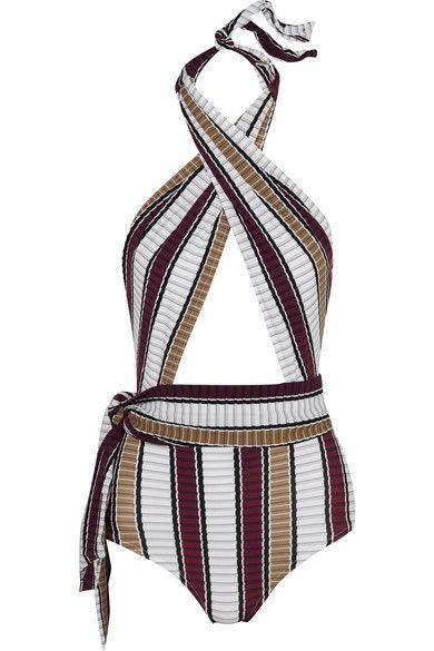 Karla Colletto - Palazzo Striped Wrap Swimsuit - Burgundy - US12