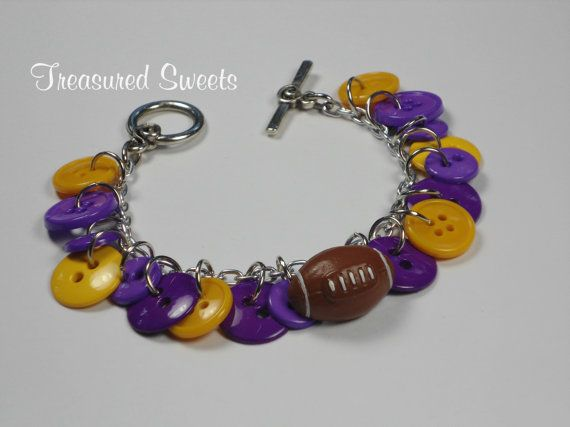 Purple and Gold Button Bracelet with Football, Louisiana and Washington Team Spirit College Colors on Etsy, $13.00