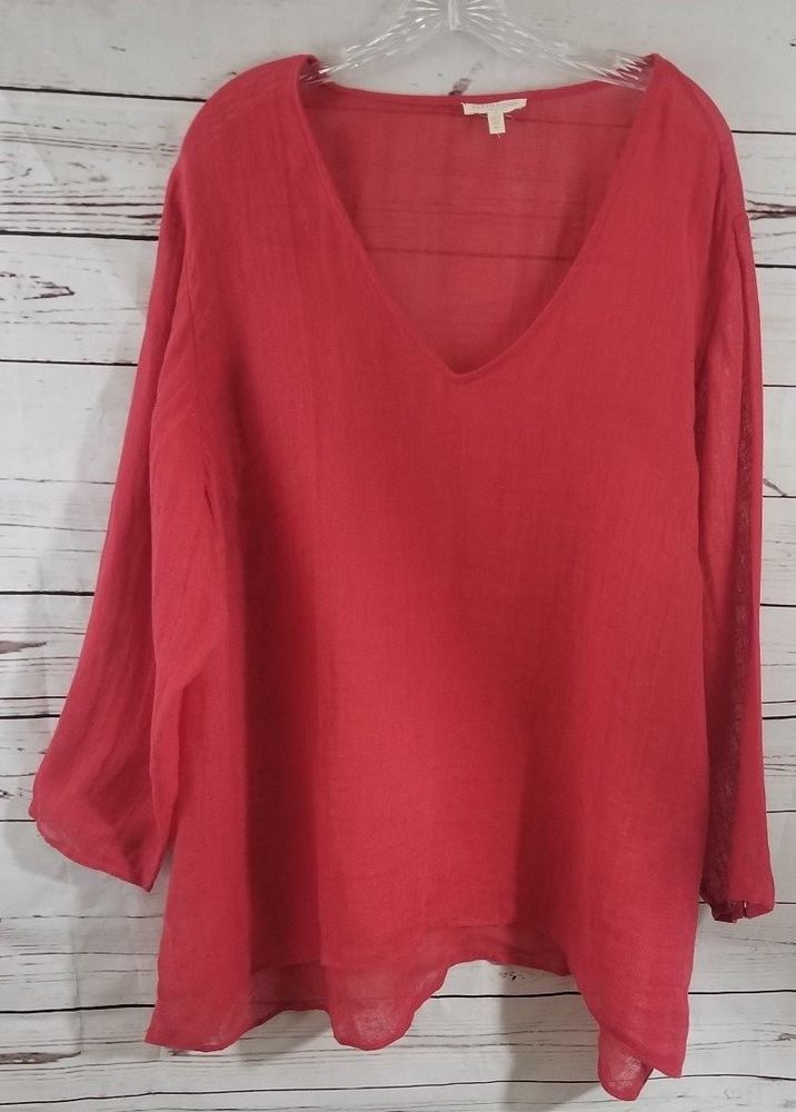 acd6965058c2f Eileen Fisher Red Gauze Linen Tunic Top Women s Size 3X Shirt Blouse XXXL   fashion