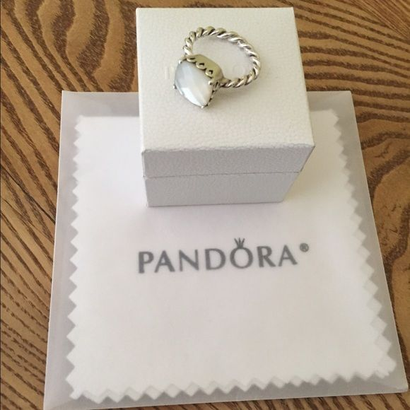 Pandora Mother of the Pearl Ring Beautiful Pandora ring worn only acouple of times-comes with shining cloth and Pandora box Pandora Jewelry Rings