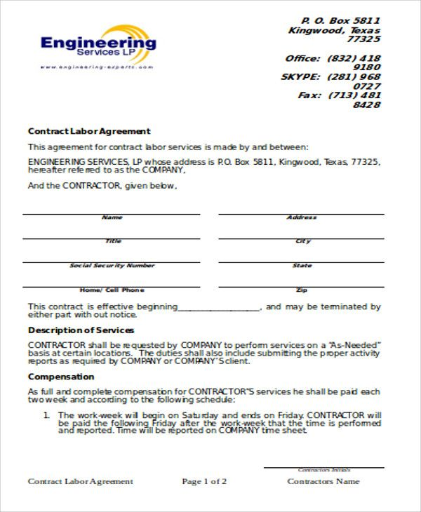 9 Simple Contract Agreements Sample Templates Alobam