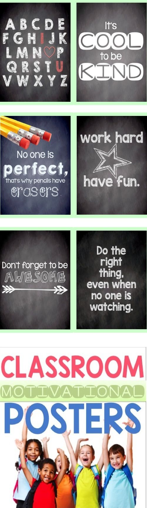 Classroom motivational posters :) in color, black and white, and chalkboard style