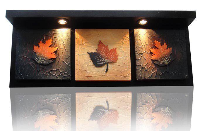 cuadro hojas de maple con luz cuadros modernos