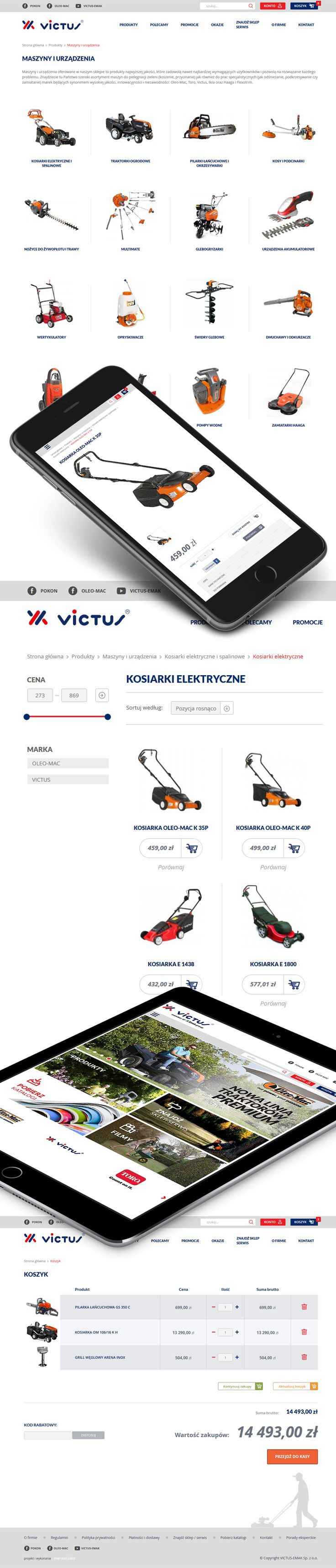 Victus: we were responsible for preparing the concept and specifications, clickable mockups, interface design and further Magento integration.  Apart from standard Magento functionalities, we've developed custom shipping management module that allowed to make the shipping method configurable in Magento's admin panel (same as you do with promotions rules) as well as restrict shipping based on product type and locations. Visit site: www.victus.pl