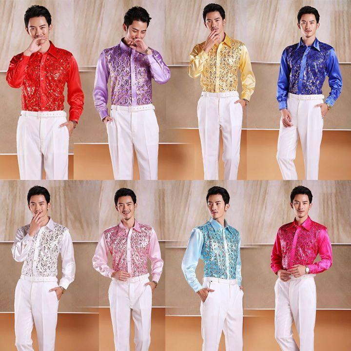 Мужские сверкающий блестками рубашка сценическая одежда танец гала прошел хор…