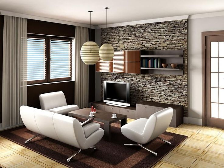 Modern Living Room Design With Stone Wall Behind Tv On The Wooden Vanity Also Dark Table And White Leather Sofa Lampion Lighting Above