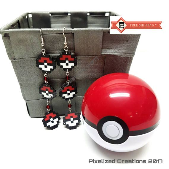 Pokemon Inspired Tiny 3 Pokeballs Dangle Earring Set
