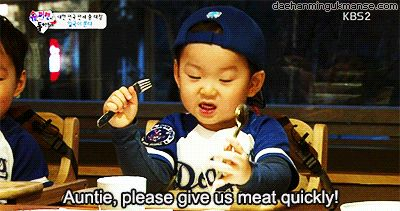 Auntie, please give us meat quickly! #daehan #minguk #manse #song #triplets #brothers #kpop