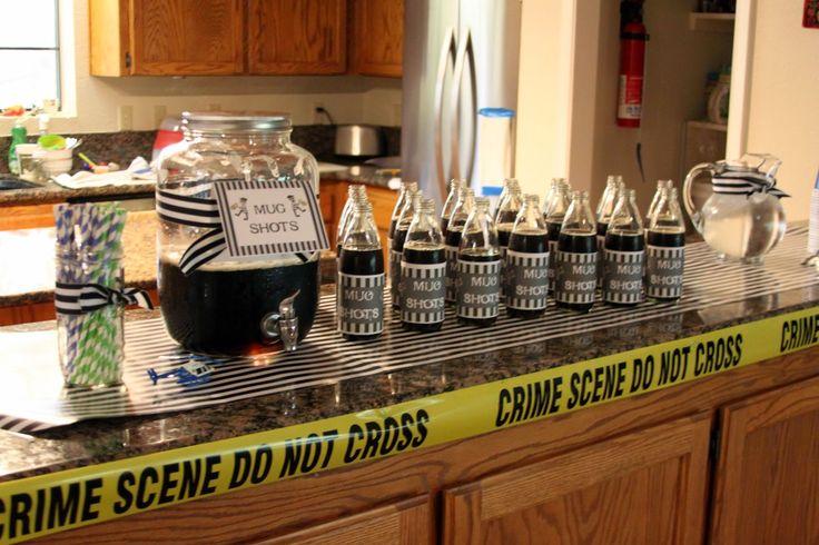 Cops & Robbers birthday party mug shots (aka mug root beer)
