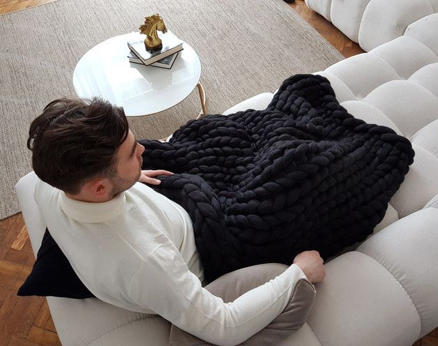 We make our big knit blankets by hand from high-quality merino wool. It's hypoallergenic, antibacterial, it doesn't irritate your skin.  Wool Hugs Chunky Knit Blankets are super soft, breathable...