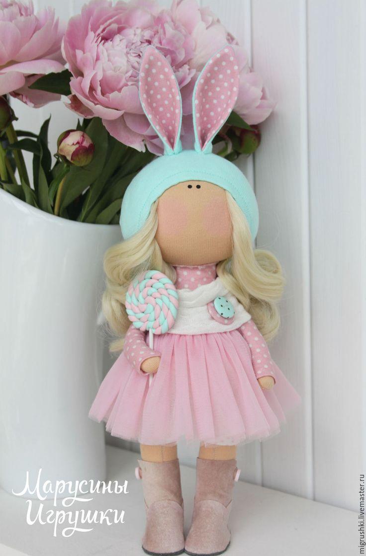 Купить Малышка-зайка - комбинированный, малышка, тильда кукла, кукла ручной работы, девочка, пупс