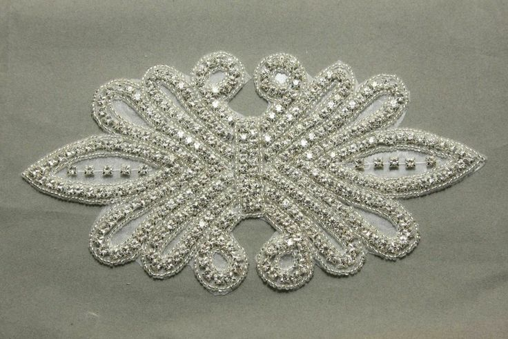 "7.9"" Sew/Iron Crystal Rhinestone Sash Wedding Bridal Gown Wing Applique"