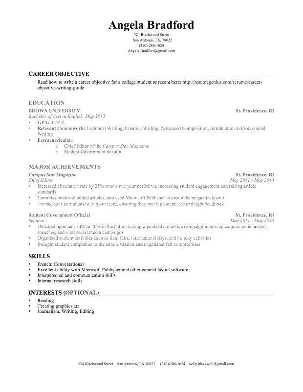 70 Unique Image Of Sample Resume For Summer Job College Student Philippines Check More At Https Www O Job Resume Examples Resume No Experience Student Resume