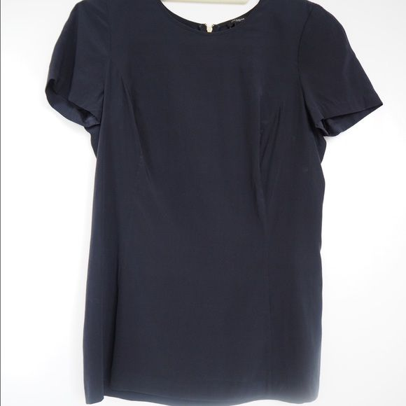 Ann Taylor Navy Short Sleeve Top Shoulder pads, 1/2 zip up in back, fitted Ann Taylor Tops Blouses