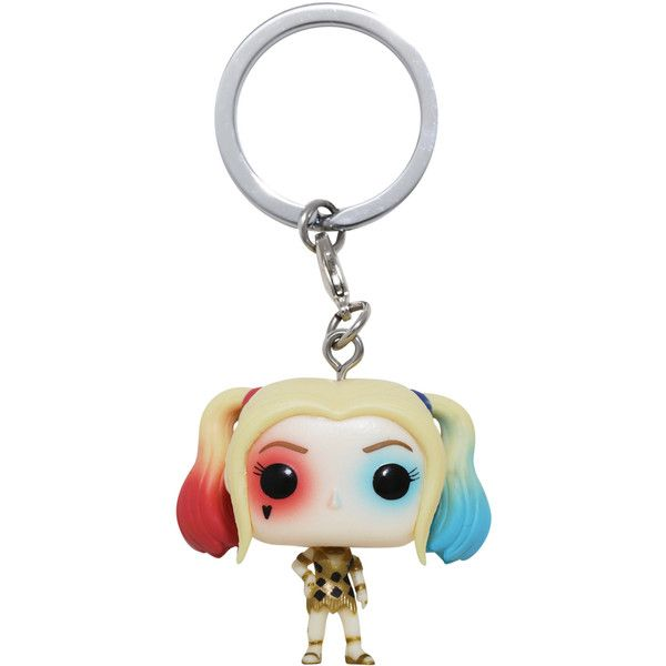Funko DC Comics Suicide Squad Harley Quinn Dress Pocket Pop! Key Chain... (£4.55) ❤ liked on Polyvore featuring costumes, harley quinn costume, harley quinn halloween costume, white halloween costumes, white costumes and funko