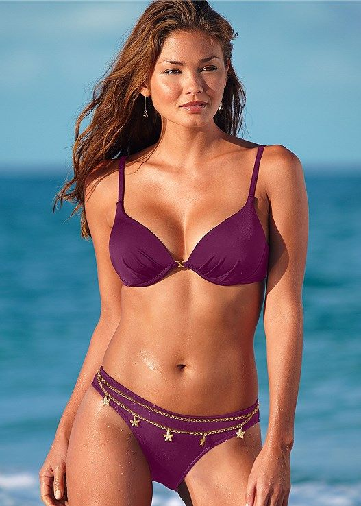 00344c838 Venus Women s Enhancer Push Up Bra Push-Up Bikini Tops - Purple