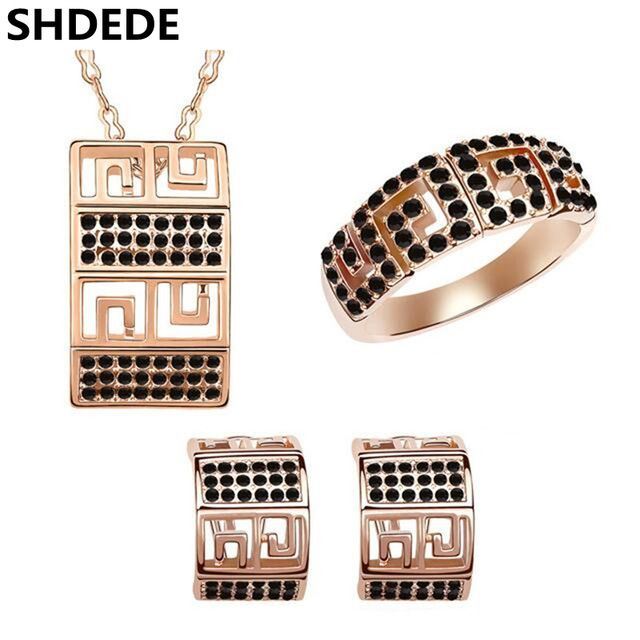 SHDEDE Высокое Качество Розовое Золото Цвет Мода Ювелирные Наборы Для Женщин Ожерелье Серьги Кольца Роскошный Банкетный Партия Ювелирных Изделий 5796
