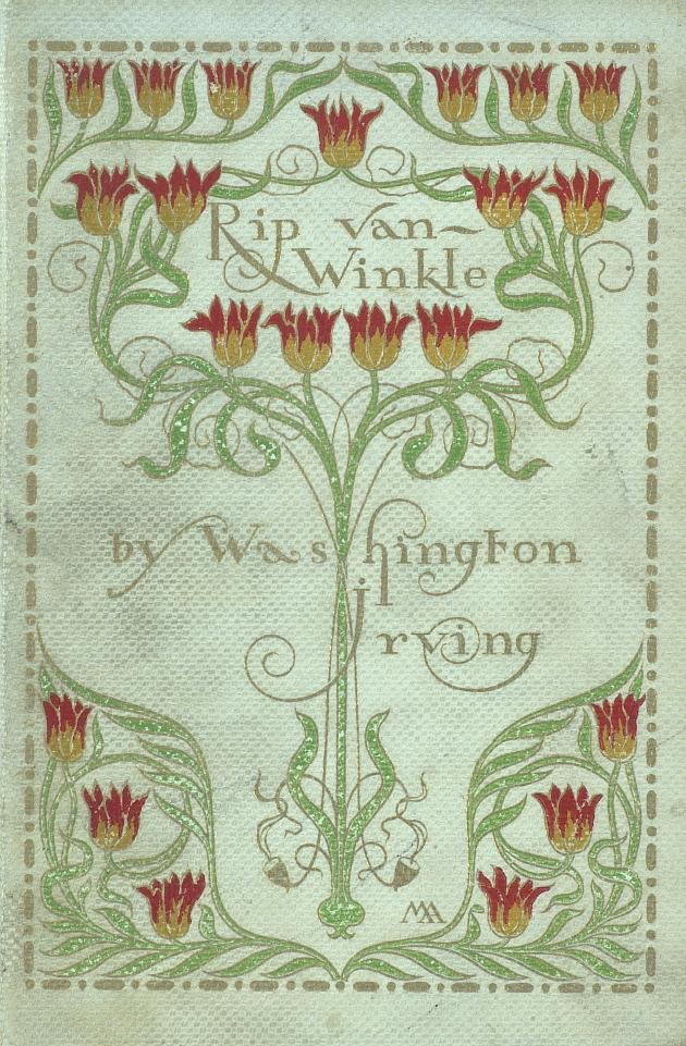 art, typography, graphic design, pattern, nouveau, floral, mint green, vine frame  //  Vintage book cover illustration: Rip Van Winkle
