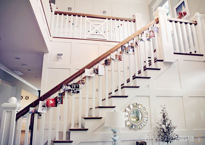 59 best images about stairs on pinterest herringbone for Hanging garland on staircase