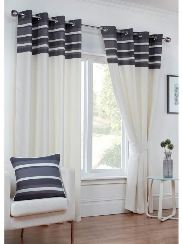 Cambridge Eyelet Curtains in 3 widths, 3 drops and 4 colour optionsGive your windows a bright new look with the stylish design of the Cambridge Eyelet Curtains.Against a natural base, they feature a striped header in a choice of 4 eye-catching colours - charcoal and chocolate are easily matched to neutral décors, while the vibrant hues of duck egg and green are perfect for creating a bright burst of colour.With drops of 137 cm (54 inch), 183 cm (72 inch) and 229 cm (90 inch), the following…