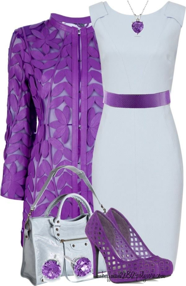 This lace PURPLE jacket will make the outfit.
