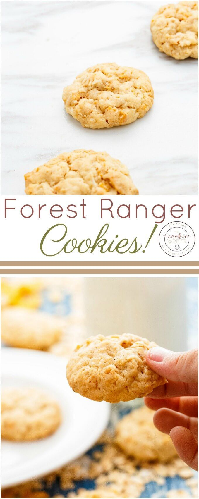 Forest Ranger Cookies | http://thecookiewriter.com | @thecookiewriter | #cookies | Forest ranger cookies are made with a blend of oats, coconut, and Corn Flakes! Their unique texture is one of softness, but chewiness!