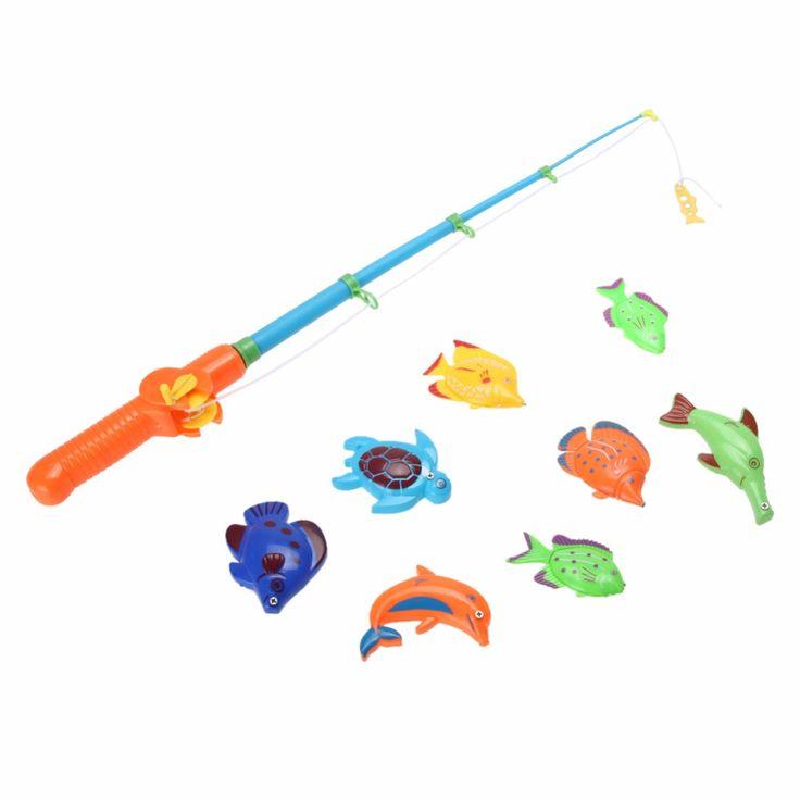 1 Set Magnetic Fishing Permainan Set Mainan dengan Batang 8 Ikan Menangkap Kait Tarik Fun Anak Mandi Bath Tub Mainan