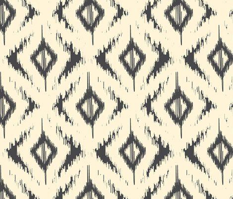Black and Cream Ikat Diamonds fabric by bohemiangypsyjane on Spoonflower - custom fabric
