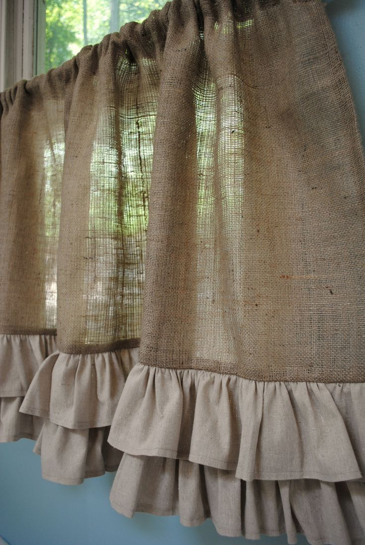 Burlap Ruffled Cafe Curtain.. I would add color to bottom tho ;)