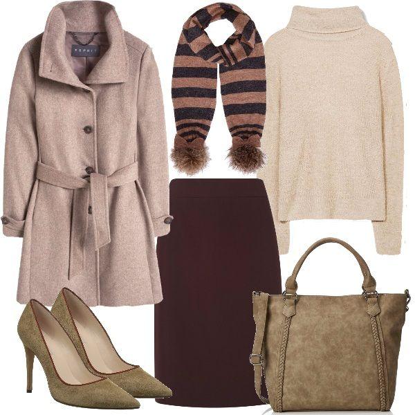 Per recarsi al lavoro con i colori caldi perfetto questo outfit con gonna a matita, maglioncino con collo ad anello, cappottino con cintura, avvolgente sciarpa con pon pon, décolleté e borsa abbinata.