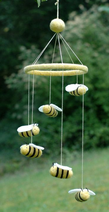 Bumble Bee Mobile - Needle Felted Nursery Decor. via Etsy.