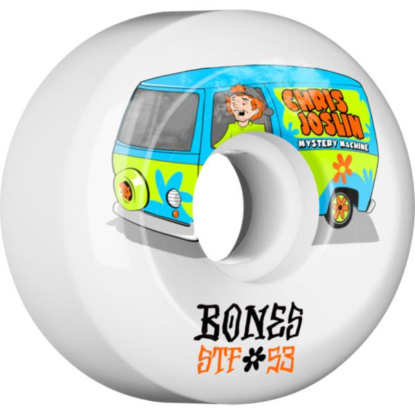 Bones Wheels Chris Joslin STF Shaggy White wheels - new at Warehouse Skateboards! #wskate #newarrivals #skateboarding