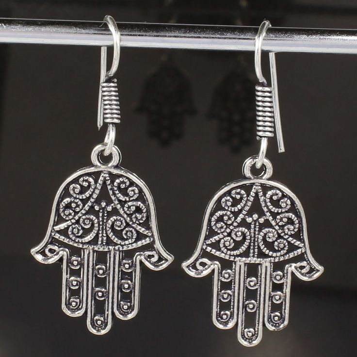 New HAMSA Hand Design Earrings 925 Silver Plated Jewelry 1 7/8 Inches India #Unbranded #DropDangle