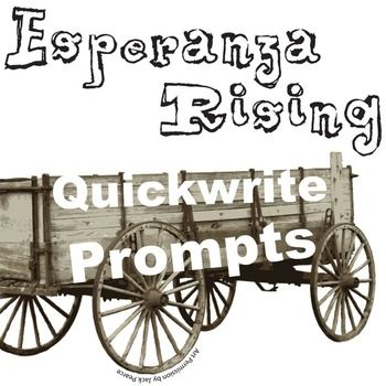 ESPERANZA RISING Journal - Quickwrite Writing Prompts - PowerPointTEXT: Esperanza Rising by Pam Munoz RyanGRADE LEVEL: 5th-10thCOMMON CORE: CCSS.ELA-Literacy.RL.1; CCSS.ELA-Literacy.W.1Coming soon, this resource will be part of ESPERANZA RISING Unit Teaching Package bundle.This 39-prompt Esperanza Rising PowerPoint never fails to get conversation started.