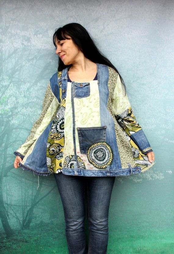 Reserved for Bonnie, do not purchase this item. Blue and green denim recycled dress tunic top. Made from recycled denim jeans and recycled clothing. Appliqued patchwork. Hippie boho style. One of a kind. Size: 40-42 (european 40-42) bust line max 44 inches (112 cm) Hips max 51 inches (130 cm) Length about 28 inches (74 cm)