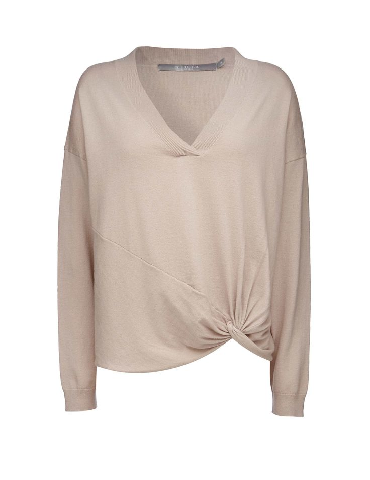 Tiger Of Sweden: Mada pullover - Women's v-neck pullover in lightweight wool-cotton blend. Features knotted detail at lower front. Ribbed trim at neckline and cuffs. Regular fit. Hip length.