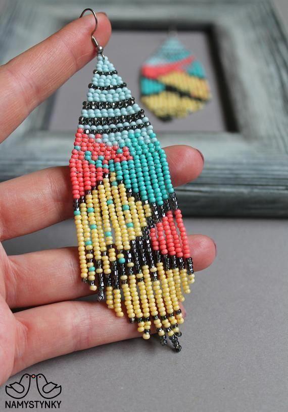Beaded Earrings On Pinterest Beadedearrings Beaded Earrings