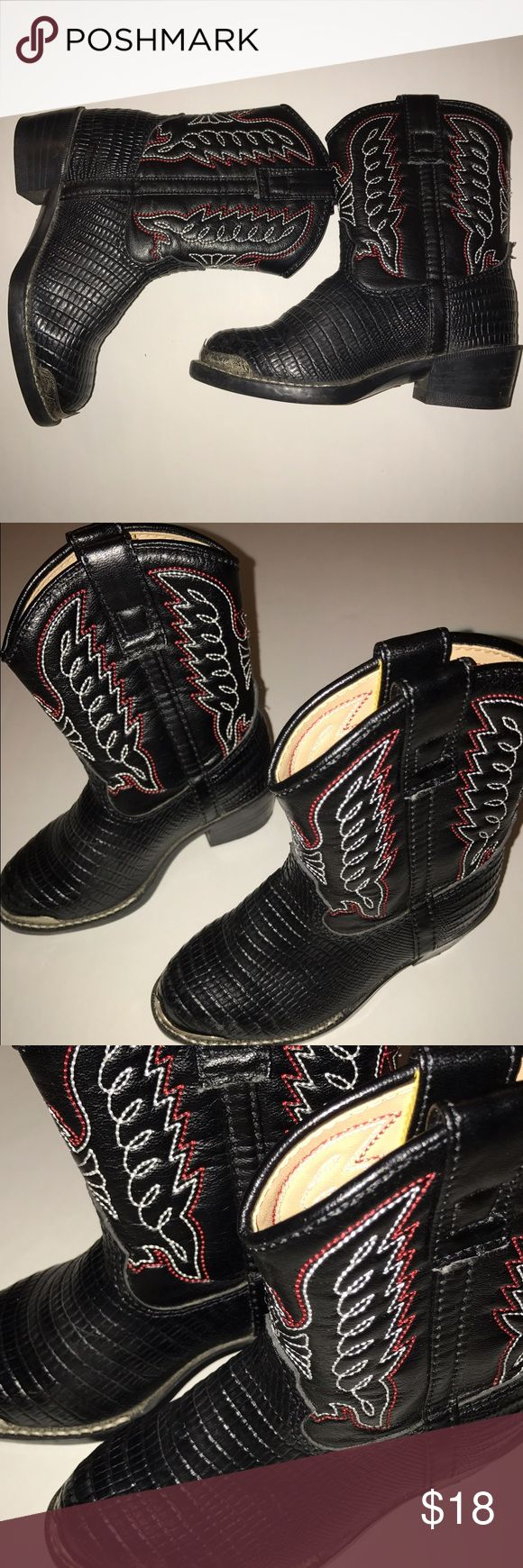 Cowboy boots, toddler 8 Adorable cowboy boots, gently used, black with red and white stitching, Durango size 8. Durango Shoes Boots