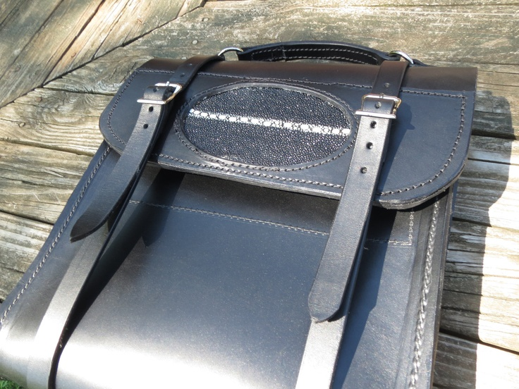Stingray Accent Leather Laptop Bag, Briefcase. $300.00, via Etsy.