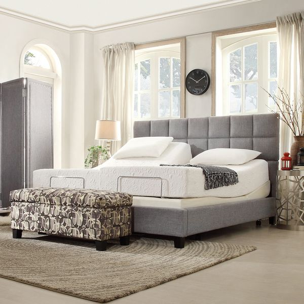 inspire q toddz classic electric adjustable split king size bed base with wireless remote control - Adjustable King Size Bed Frame