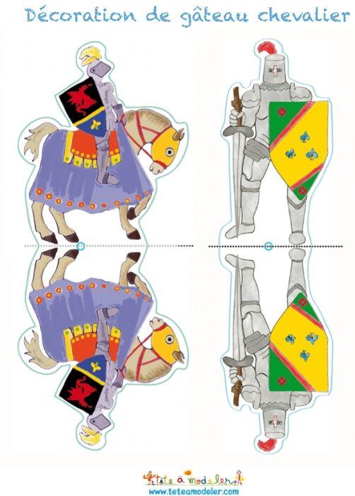 coloriage Décoration gâteau chevalier : décorations 3 et 4