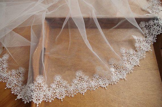 ivory venise lace trim, scalloped lace trimming, guipure lace trim, bridal lace by the yard DG116B