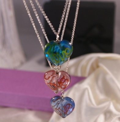 Triple Silver Chain Necklace with Glass Hearts from Grace & Favour Jewellery.