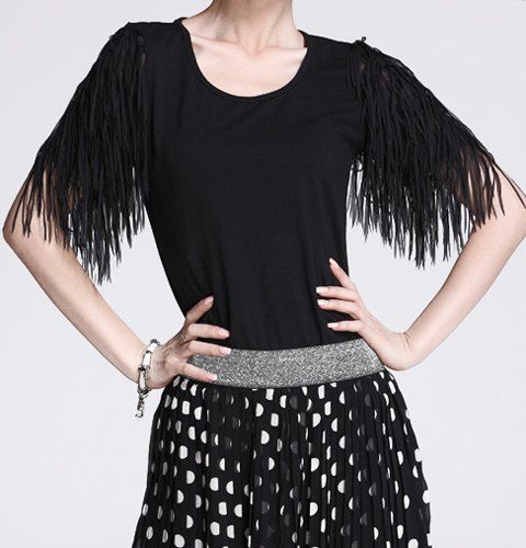 $8.65 Stylish Women's Scoop Neck Tassel Embellished 1/2 Sleeve T-Shirt