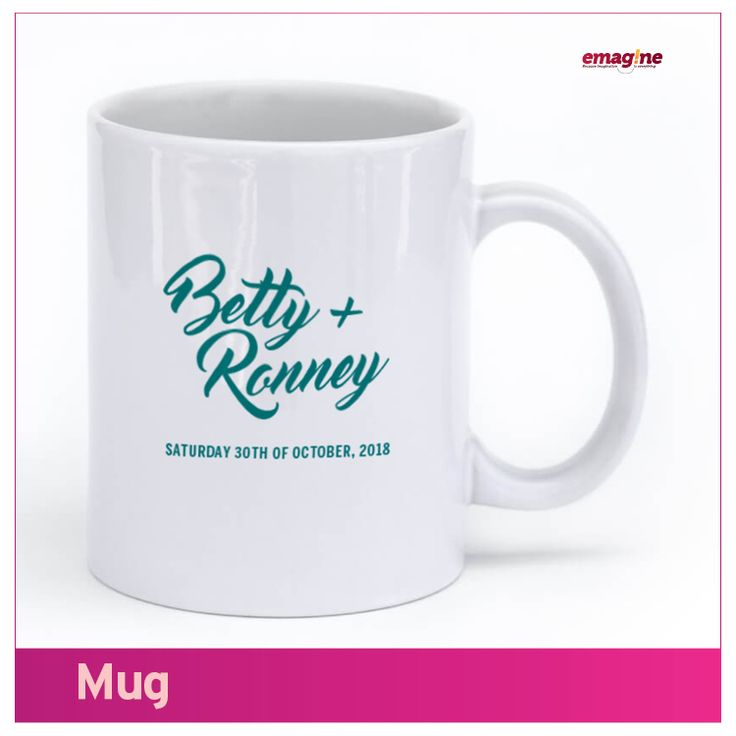 MUGS- Let your friends and family leave your wedding with a gift of pure joy. Our custom mugs add a personal touch to anyone's morning routine! Your personalized mug gifts are produced with the best designs to make the people you love smile – everyday – a reminder of #aWeddingtoremember. Just Emagine that!