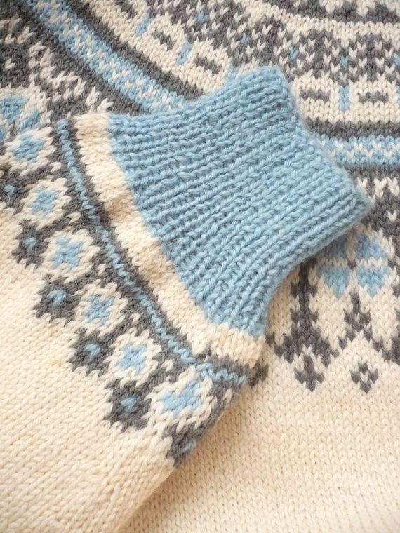 Vintage Norwegian Pure New Wool Tapestry Fairisle by 5678Vintage