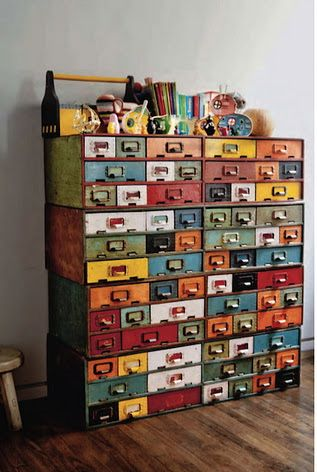 Upcycle idea: Old card catalog drawers in multiple colors recycled to make