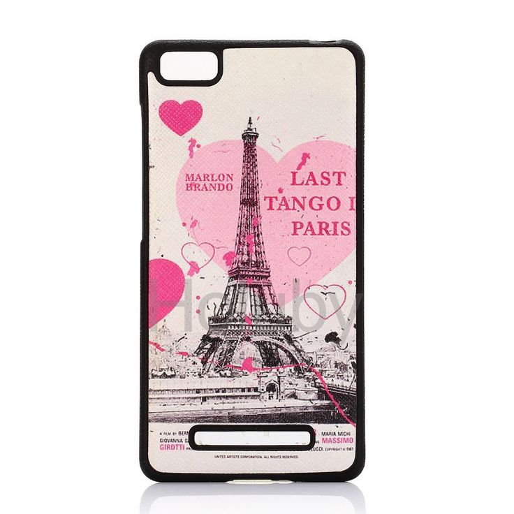 Cross Pattern Leather Coated Flexible Soft TPU Case for Xiaomi Mi 4 - Love Paris