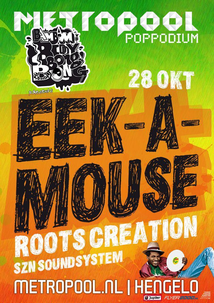 Vrijdag 28 oktober | Eek-A-Mouse | Nou, renpaard eigenlijk want daar komt de naam Eek-A-Mouse vandaan. Het is de naam van het paard waar Ripton Joseph Hylton op wedde in zijn jonge dagen. Eén keer niet gewed en de betreffende knol wint. Het zal Eek-A-Mouse niks kunnen schelen want hij is inmiddels een gevestigde naam bij iedereen die van reggae houdt. Zijn eigen stijl hypnotiseert miljoen liefhebbers van het genre. Meer info: metropool.nl/...